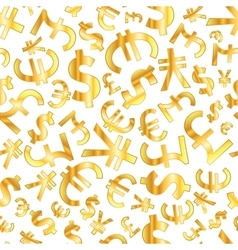 Golden signs of world currencies on white vector image vector image