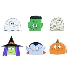 halloween faces vector image vector image