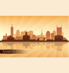 nashville city skyline silhouette background vector image