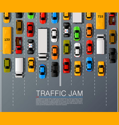 road cars transport traffic jam background vector image vector image