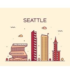 Seattle skyline trendy linear vector image