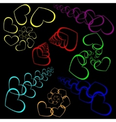 Set patterns of hearts and linear spiral vector image