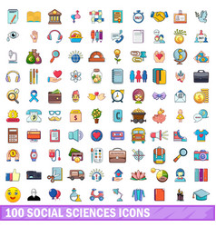 100 social sciences icons set cartoon style vector image