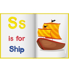 A picture of ship in book vector