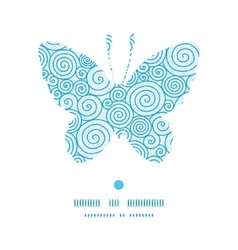 Abstract swirls butterfly silhouette pattern frame vector