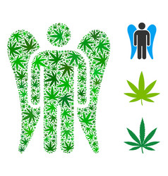 Angel composition of marijuana vector