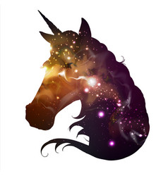 Artistic silhouette fantasy animal unicorn vector