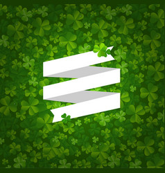 backgrounds with clovers and ribbon vector image