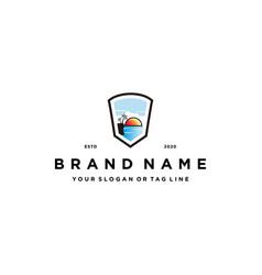 Beach shield logo design concept vector