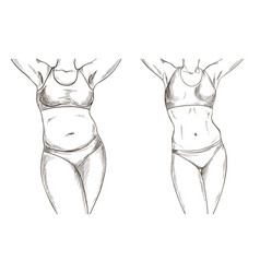 Before after collage with female body weight loss vector
