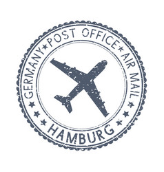 Black stamp with hamburg germany and aircraft vector