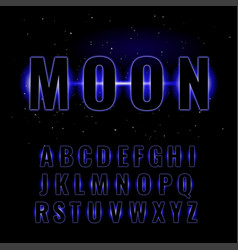 blue neon glowing alphabet vector image