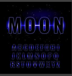 Blue neon glowing alphabet vector