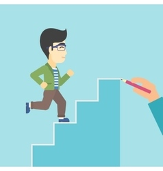 Businessman running upstairs vector image