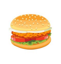 Chicken burger tasty include cutlet tomato salad vector