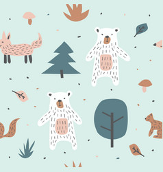childish seamless pattern with cute bear fox and vector image