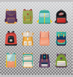 Children or kids school bags or rucksacks vector