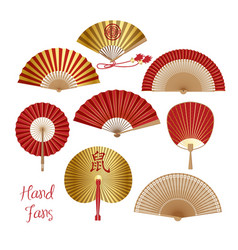 chinese and japanese paper folding fan vector image