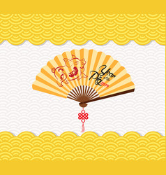 Chinese new year background with paper fan year vector