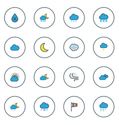 climate icons colored line set with freeze vector image