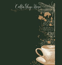coffee shop menu with cup coffee and dragonfly vector image