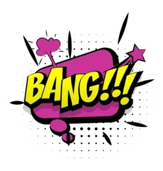 Comic purple sound effects pop art word bang vector