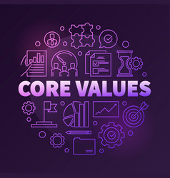 company core values round creative linear vector image