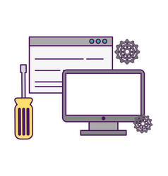computer website support tool gears vector image