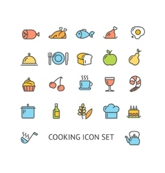 Cooking Colorful Outline Icon Set vector