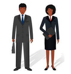 Couple of business african american man and woman vector