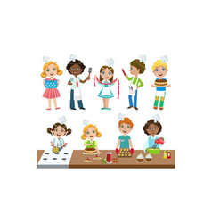 cute boys and girls in uniform cooking in kitchen vector image