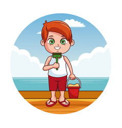 cute kid at beach vector image