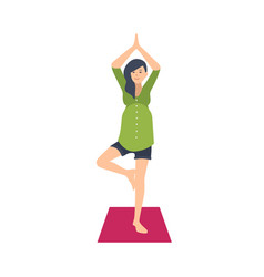 cute pregnant woman practicing yoga exercise vector image