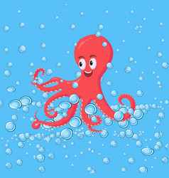 Cute smiling red octopus swimming underwater with vector