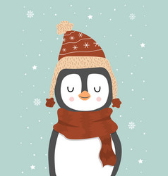 cute winter smiling white penguin with snowflakes vector image