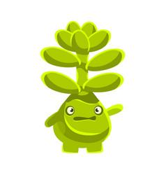 cute worried succulent emoji cartoon emotions vector image