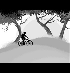 cycling woman in the forest vector image