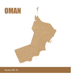 detailed map of oman cut out of craft paper vector image