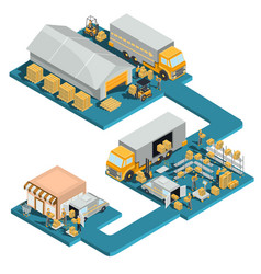distribution goods from a warehouse to a store vector image