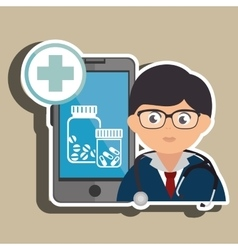 Doctor cellphone and pills isolated icon design vector