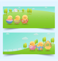 easter chicks in cracked eggs on slope banners vector image