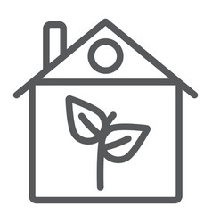 eco house line icon architecture and building vector image