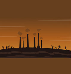 Factory waster bad environment landscape vector