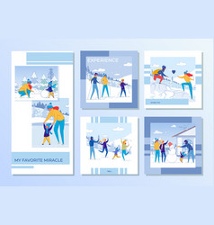 family winter recreation and games outdoor set vector image