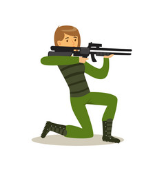 female soldier character in camouflage combat vector image