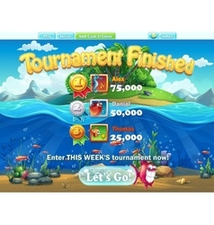 Fish world - tournament finished for computer web vector image