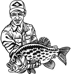 Fisherman and crappie fish - freshwater sport fish vector