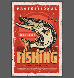fishing hook pike fish and fisherman tackle vector image