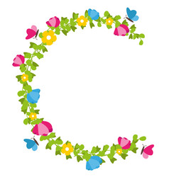 floral wreath with butterflies spring concept vector image