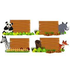 Four wooden boards with animals vector